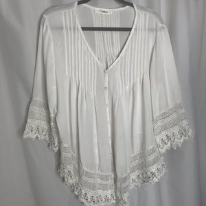 Solitaire Boho Peasant Top Ivory Lace Tim Blouse